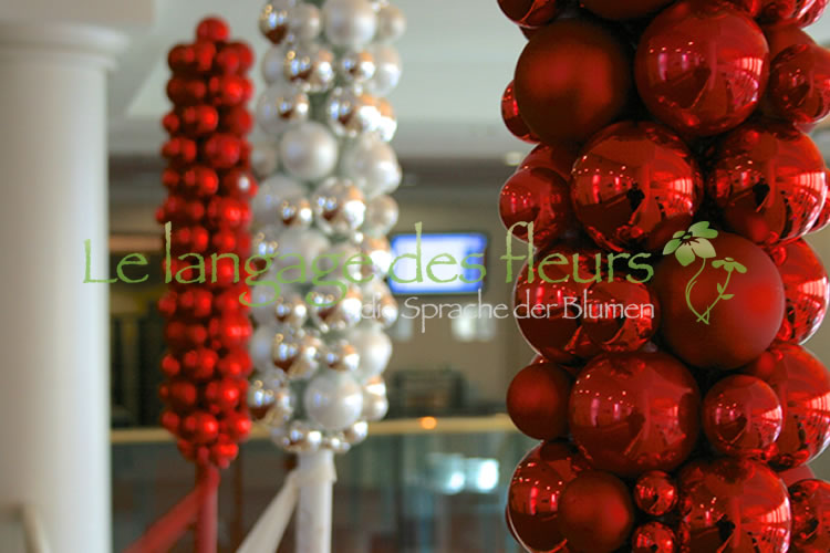 Christmas decoration balls red silver